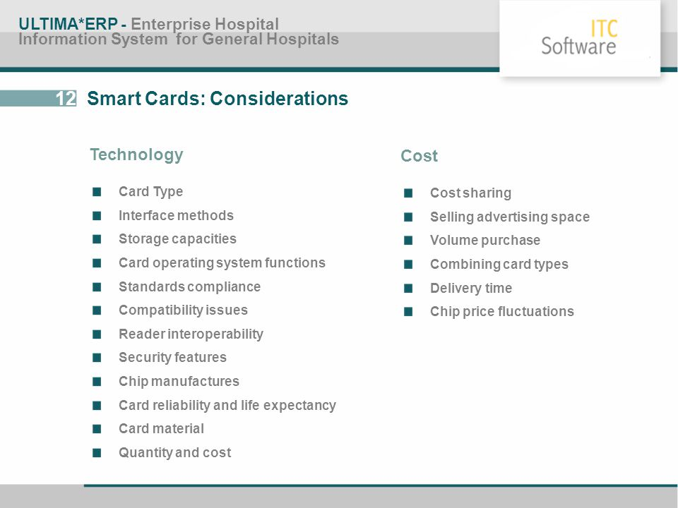 12 Smart Cards: Considerations