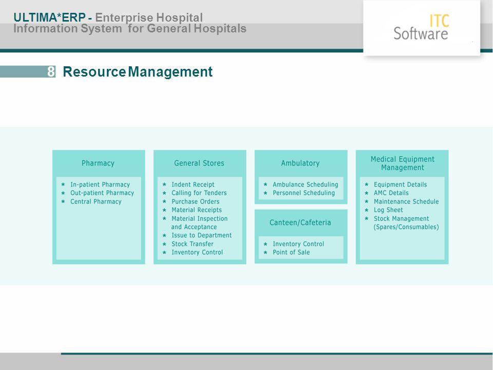 8 Resource Management ULTIMA*ERP - Enterprise Hospital