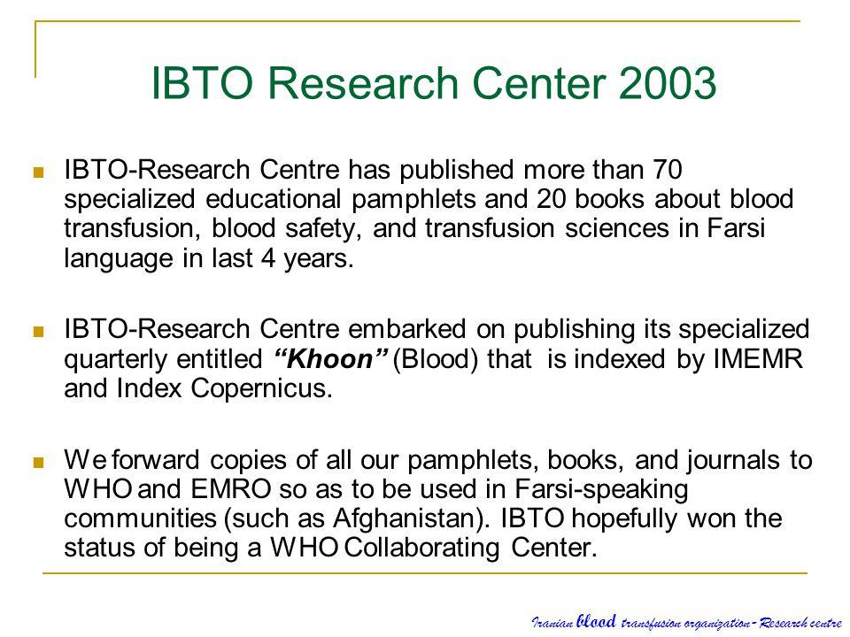 IBTO Research Center 2003