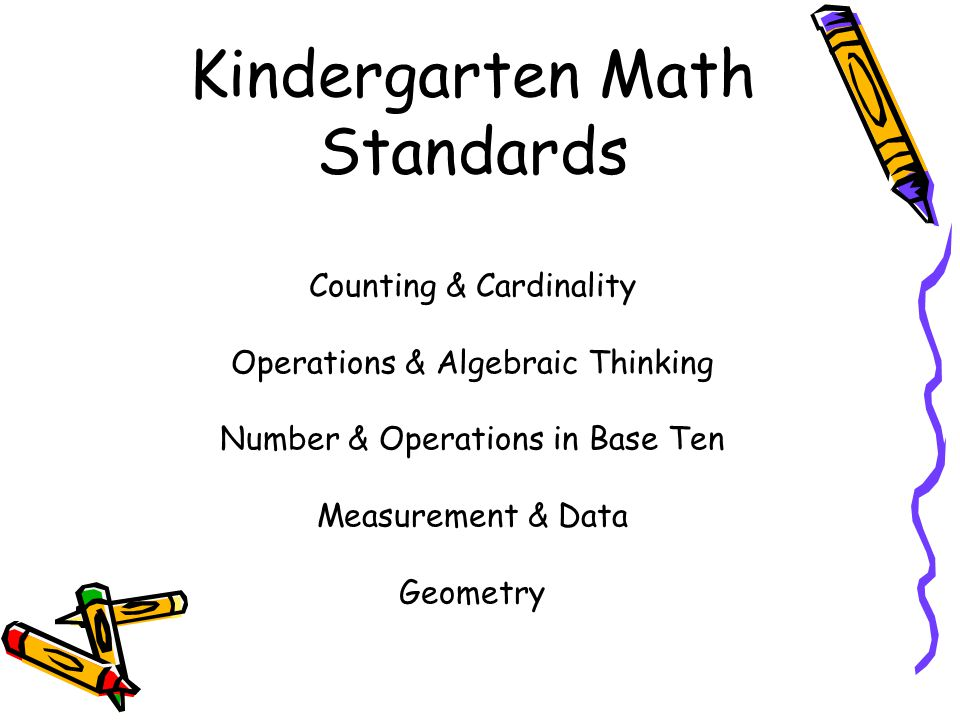 Kindergarten Math Standards Counting & Cardinality Operations & Algebraic Thinking Number & Operations in Base Ten Measurement & Data Geometry