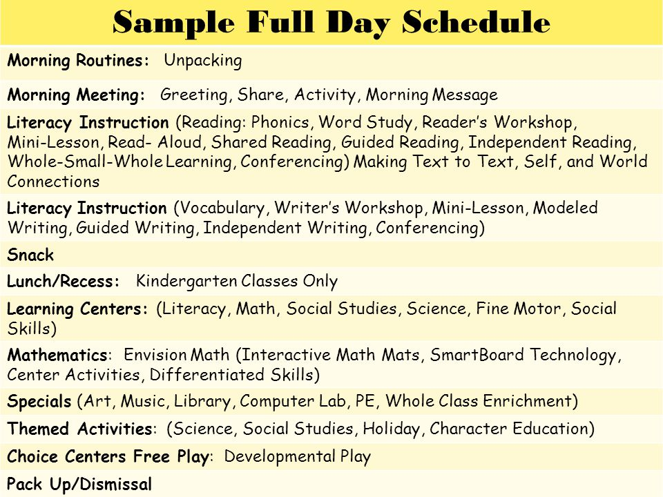 Sample Full Day Schedule