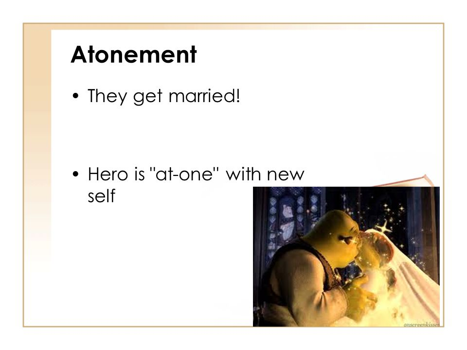 Atonement They get married! Hero is at-one with new self