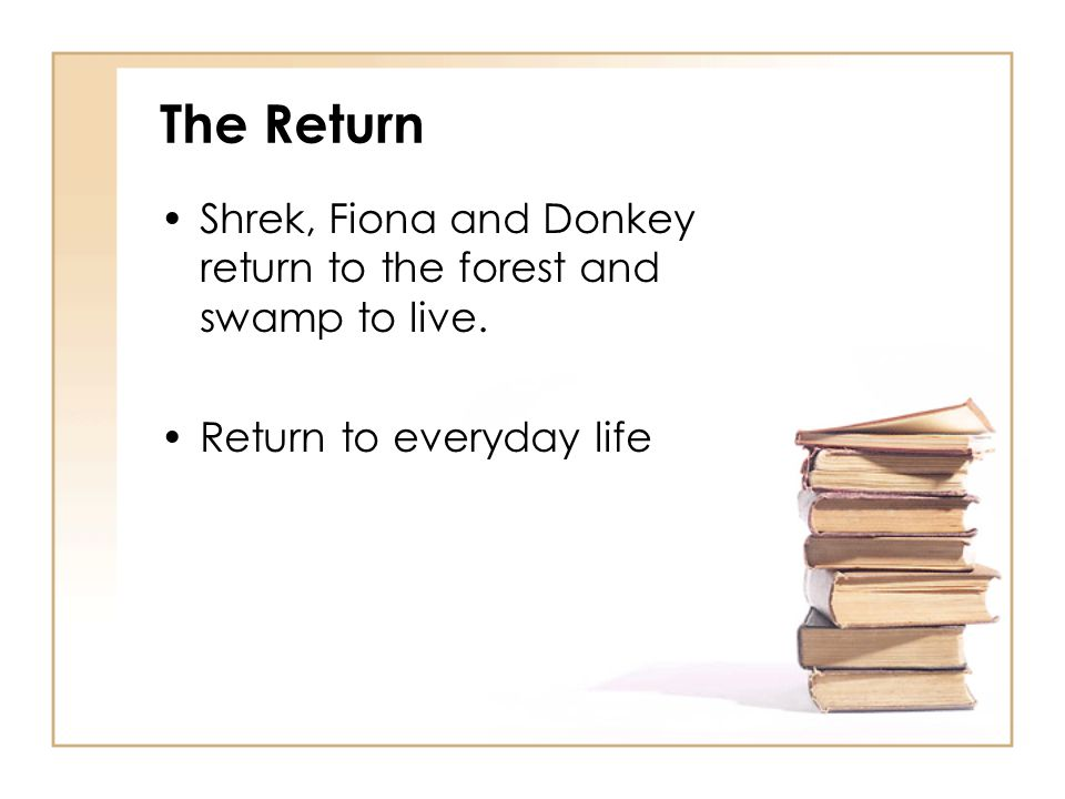 The Return Shrek, Fiona and Donkey return to the forest and swamp to live. Return to everyday life