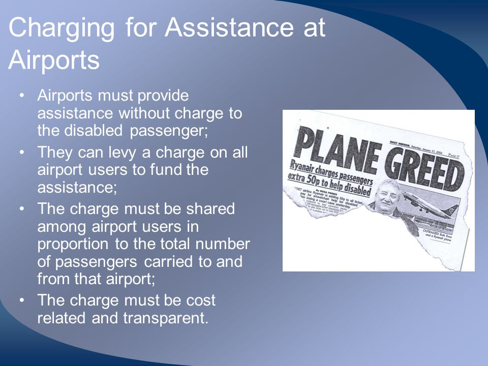 Charging for Assistance at Airports