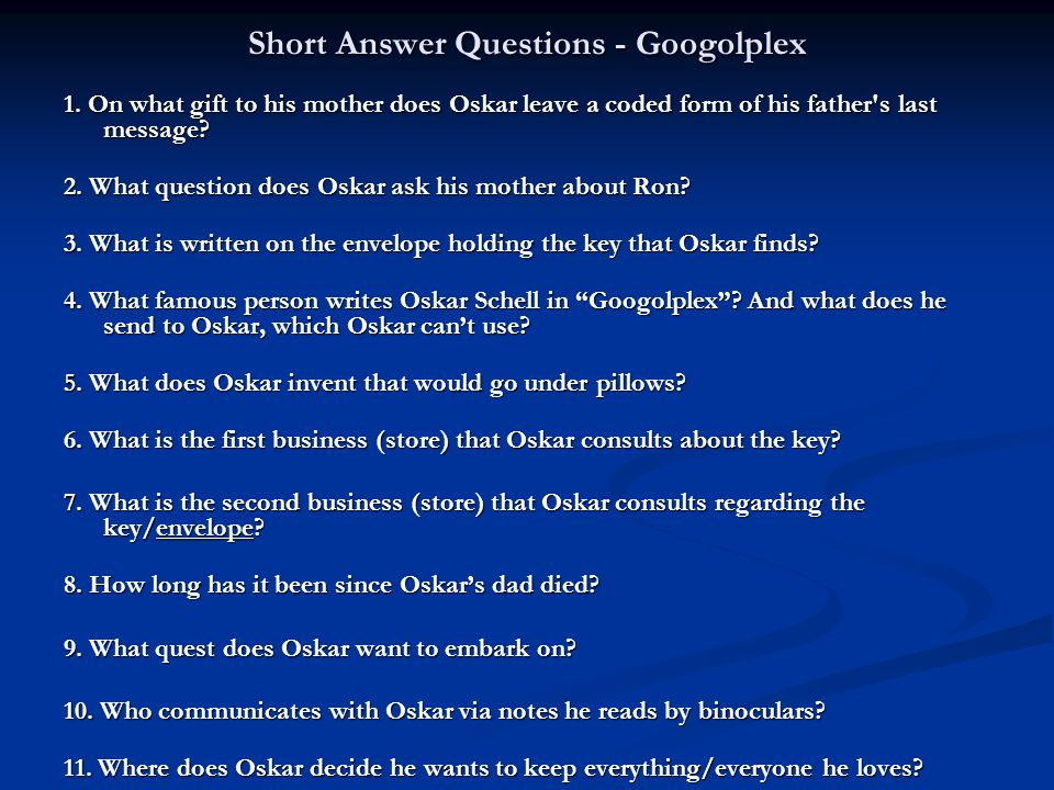 Short Answer Questions - Googolplex