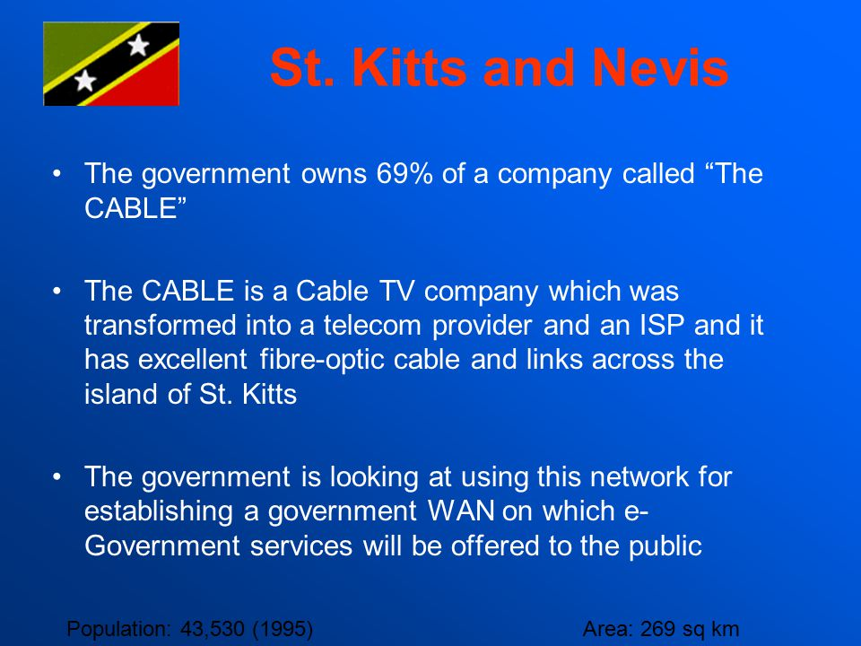 St. Kitts and Nevis The government owns 69% of a company called The CABLE
