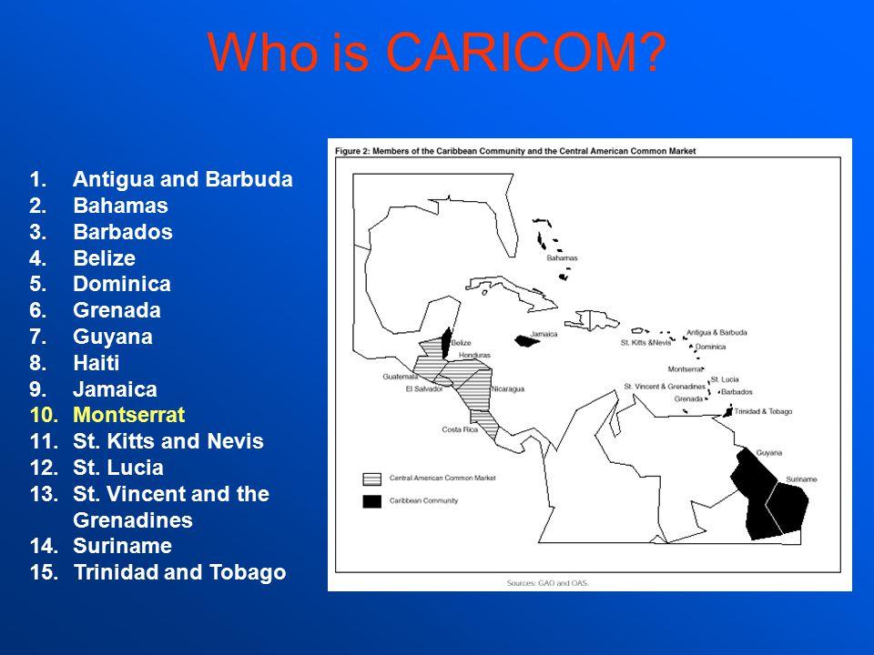 Who is CARICOM Antigua and Barbuda Bahamas Barbados Belize Dominica