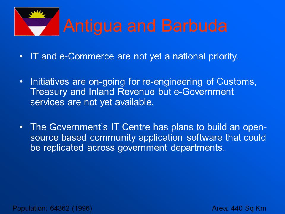Antigua and Barbuda IT and e-Commerce are not yet a national priority.