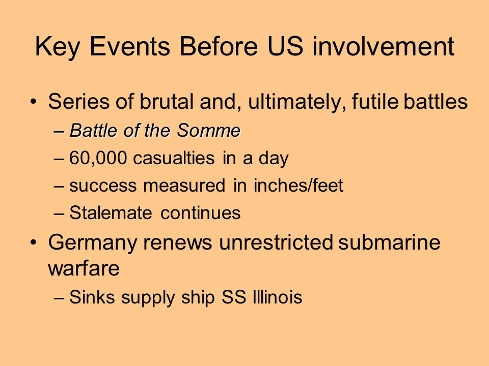 Key Events Before US involvement