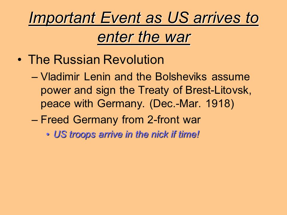 Important Event as US arrives to enter the war