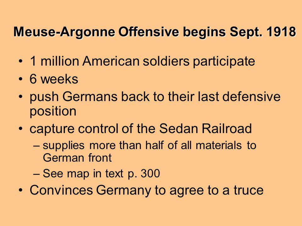 Meuse-Argonne Offensive begins Sept. 1918
