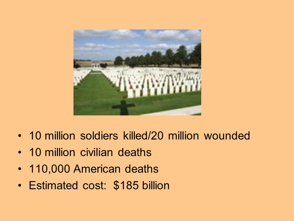10 million soldiers killed/20 million wounded
