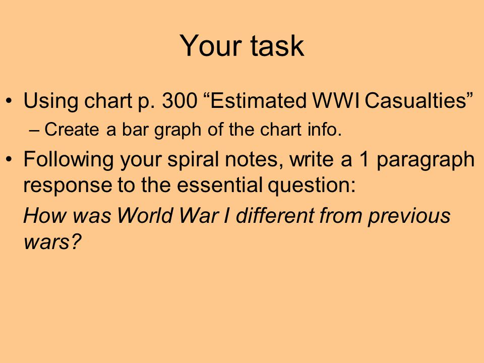 Your task Using chart p. 300 Estimated WWI Casualties