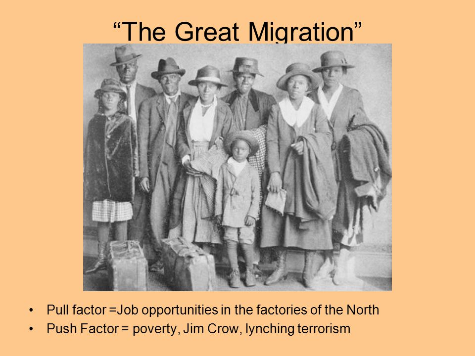 The Great Migration Pull factor =Job opportunities in the factories of the North.