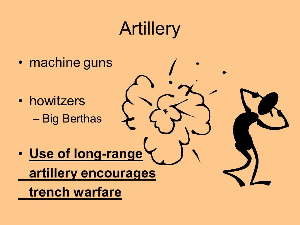 Artillery machine guns howitzers Use of long-range