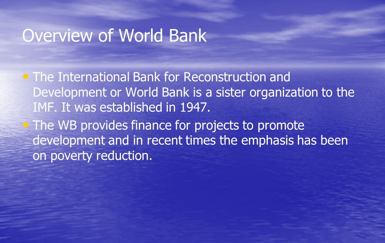Overview of World Bank