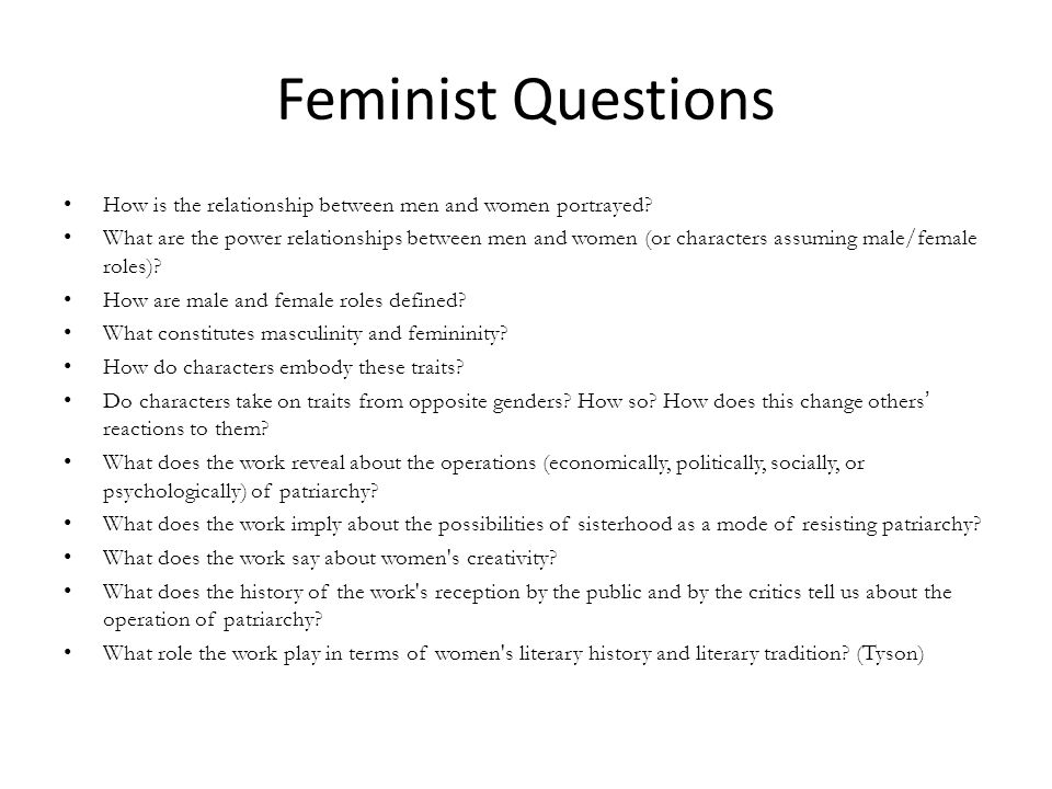 Feminist Questions How is the relationship between men and women portrayed