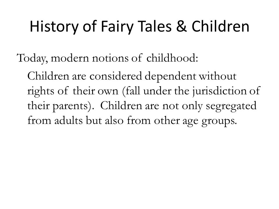 History of Fairy Tales & Children