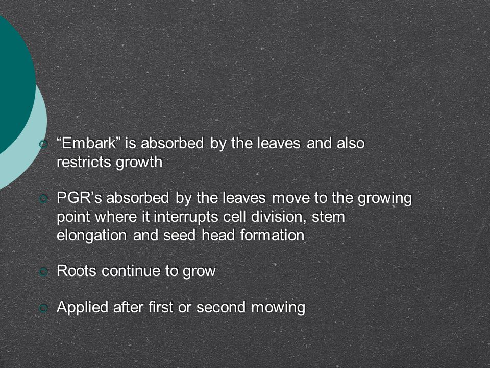 Embark is absorbed by the leaves and also restricts growth