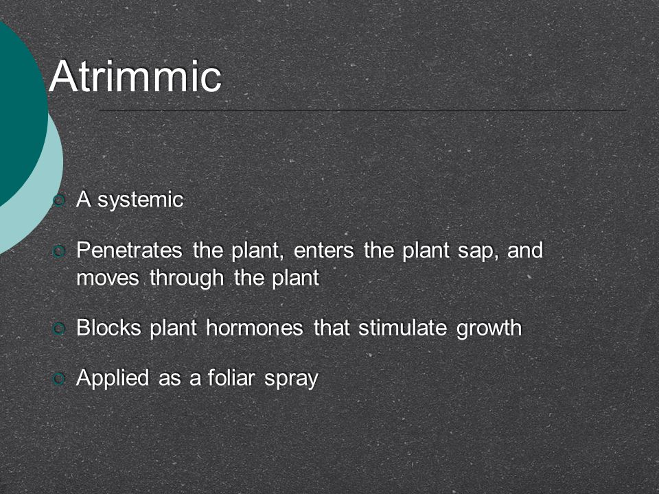 Atrimmic A systemic. Penetrates the plant, enters the plant sap, and moves through the plant. Blocks plant hormones that stimulate growth.