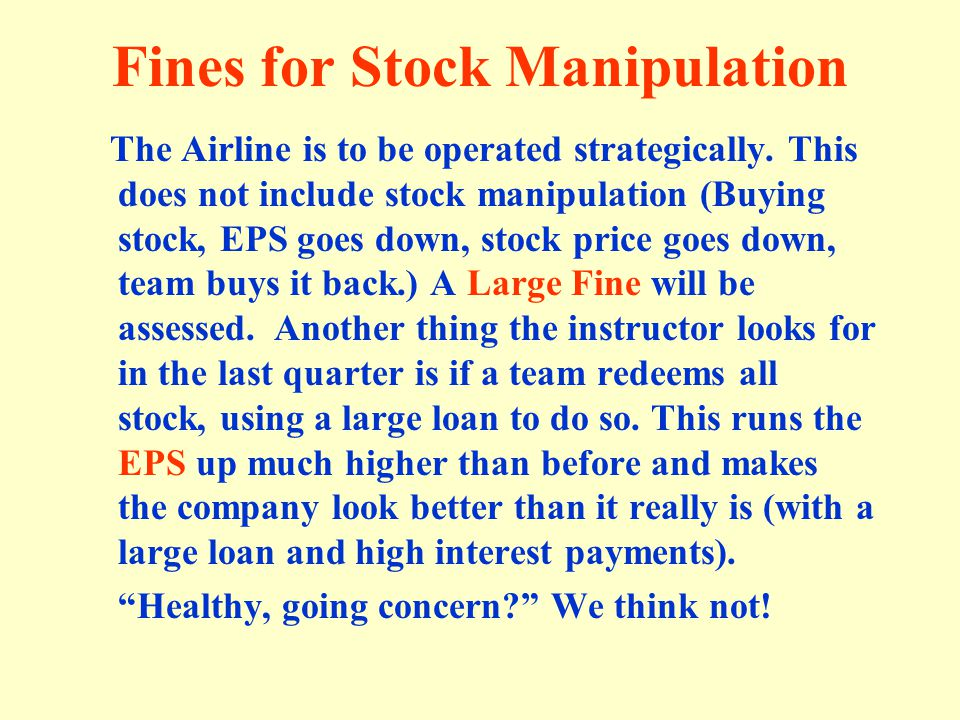 Fines for Stock Manipulation