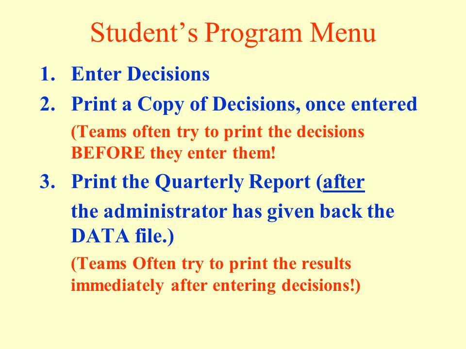 Student's Program Menu
