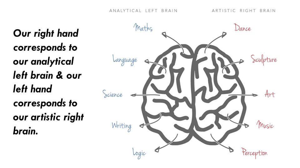 Our right hand corresponds to our analytical left brain & our left hand corresponds to our artistic right brain.