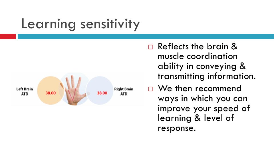 Learning sensitivity Reflects the brain & muscle coordination ability in conveying & transmitting information.
