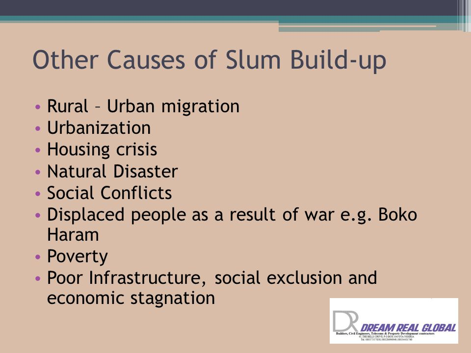 Other Causes of Slum Build-up