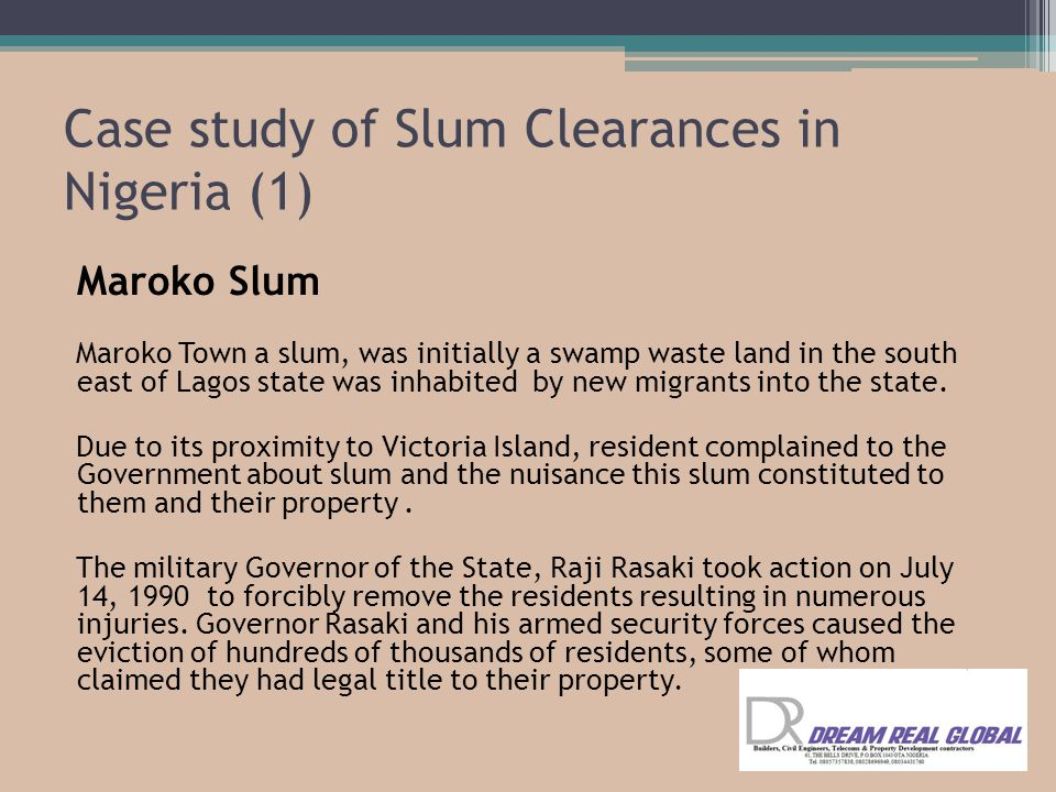 Case study of Slum Clearances in Nigeria (1)