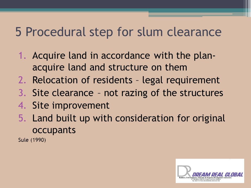 5 Procedural step for slum clearance
