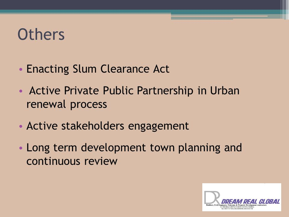 Others Enacting Slum Clearance Act