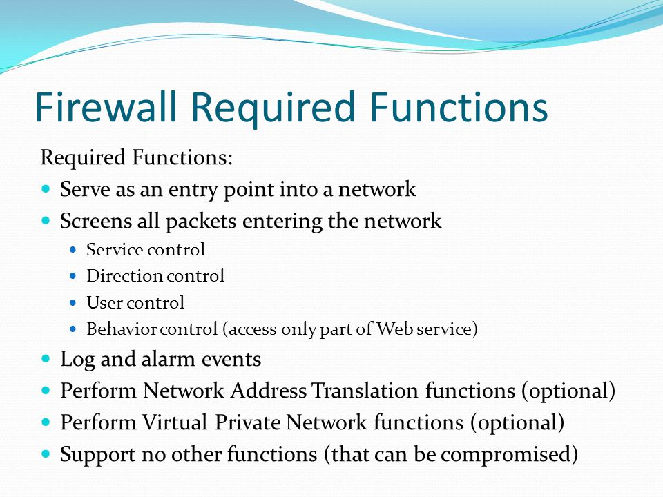 Firewall Required Functions