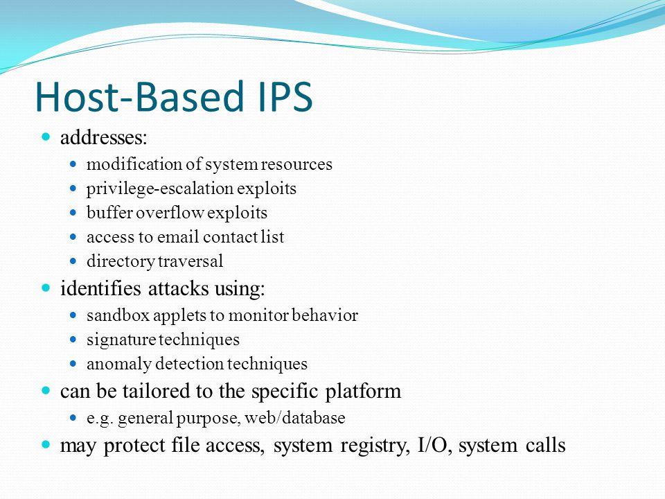Host-Based IPS addresses: identifies attacks using: