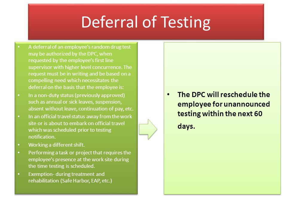 Deferral of Testing