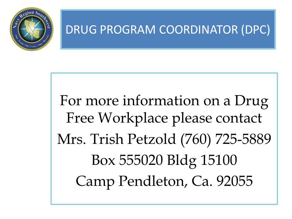 For more information on a Drug Free Workplace please contact