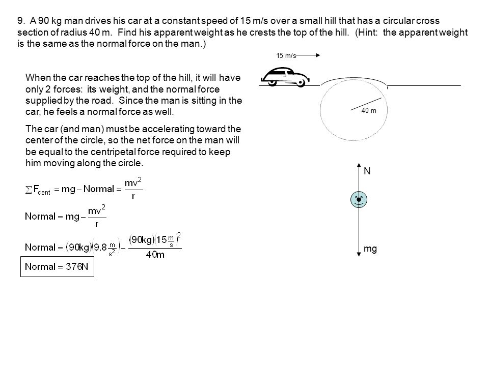 9. A 90 kg man drives his car at a constant speed of 15 m/s over a small hill that has a circular cross section of radius 40 m. Find his apparent weight as he crests the top of the hill. (Hint: the apparent weight is the same as the normal force on the man.)