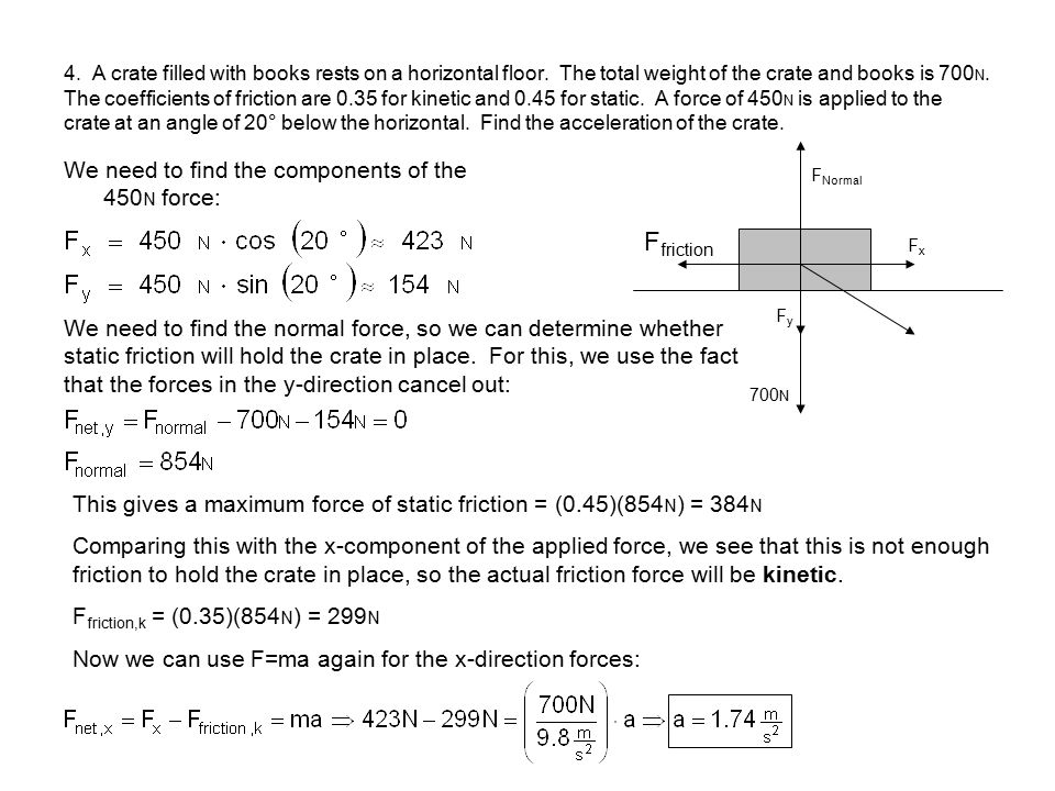 Ffriction We need to find the components of the 450N force: