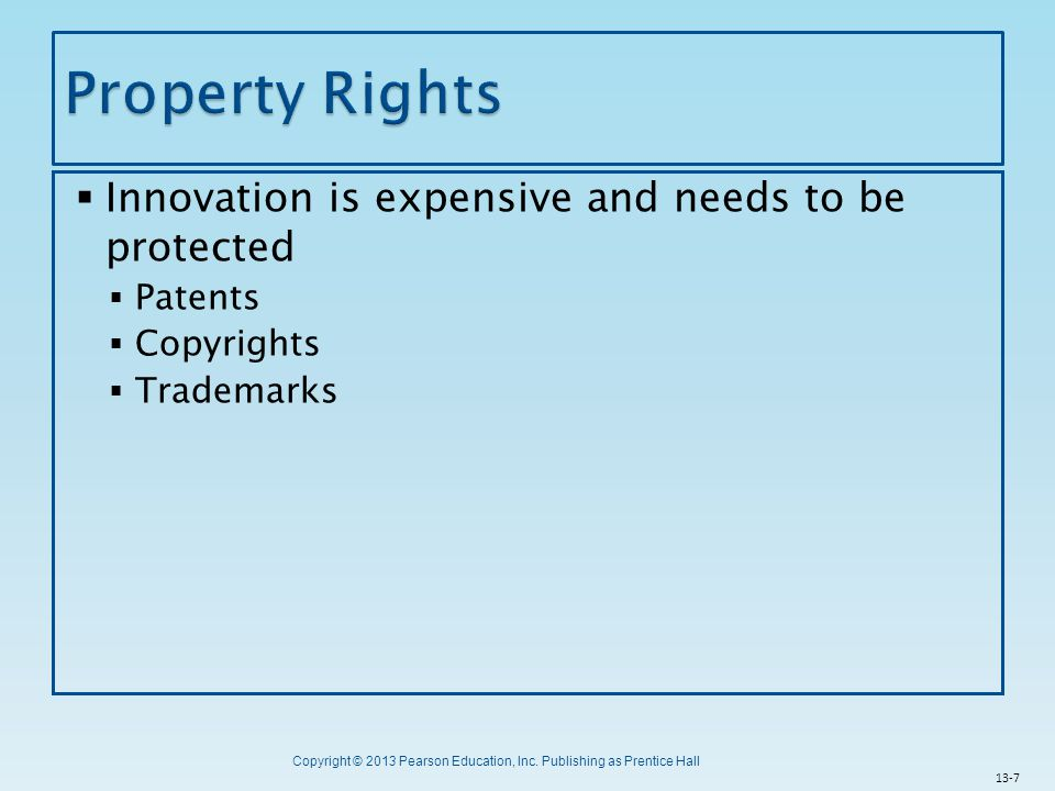 Property Rights Innovation is expensive and needs to be protected