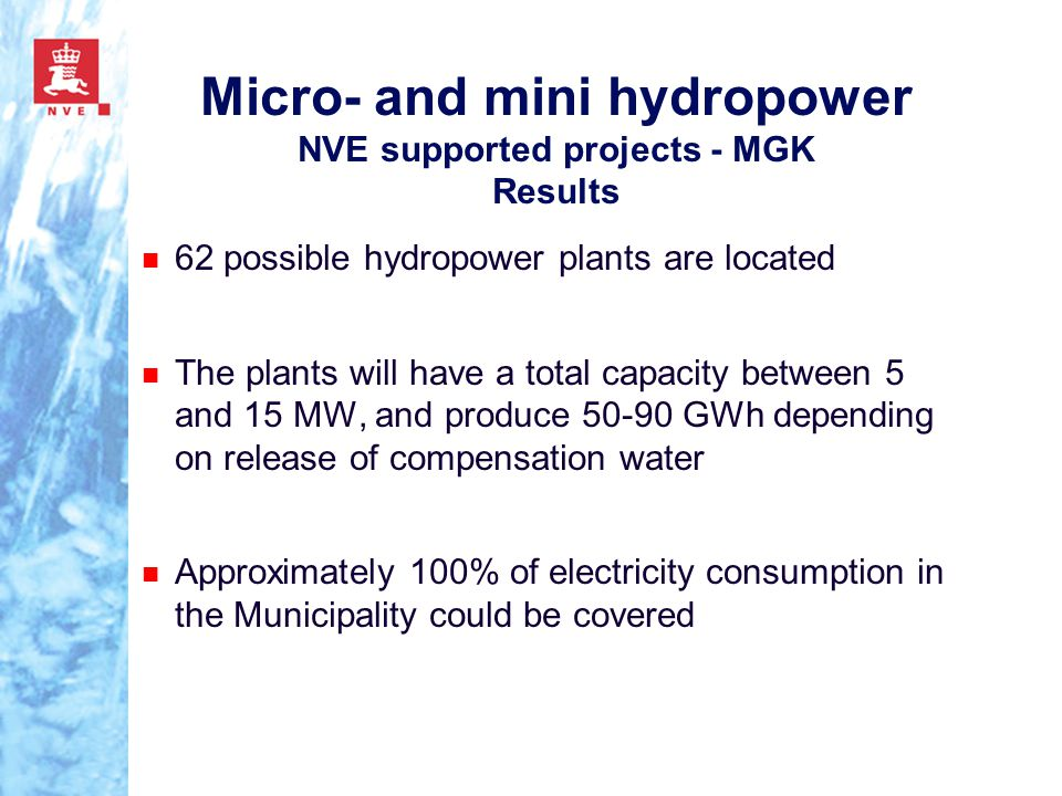 Micro- and mini hydropower NVE supported projects - MGK Results