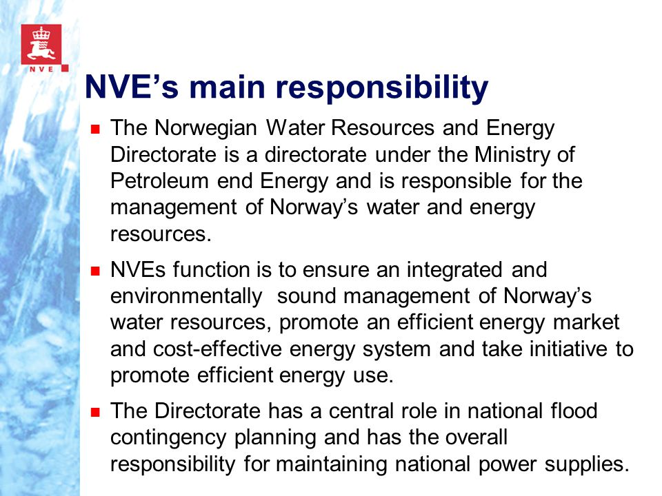 NVE's main responsibility