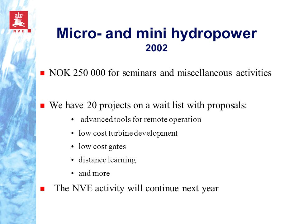 Micro- and mini hydropower 2002