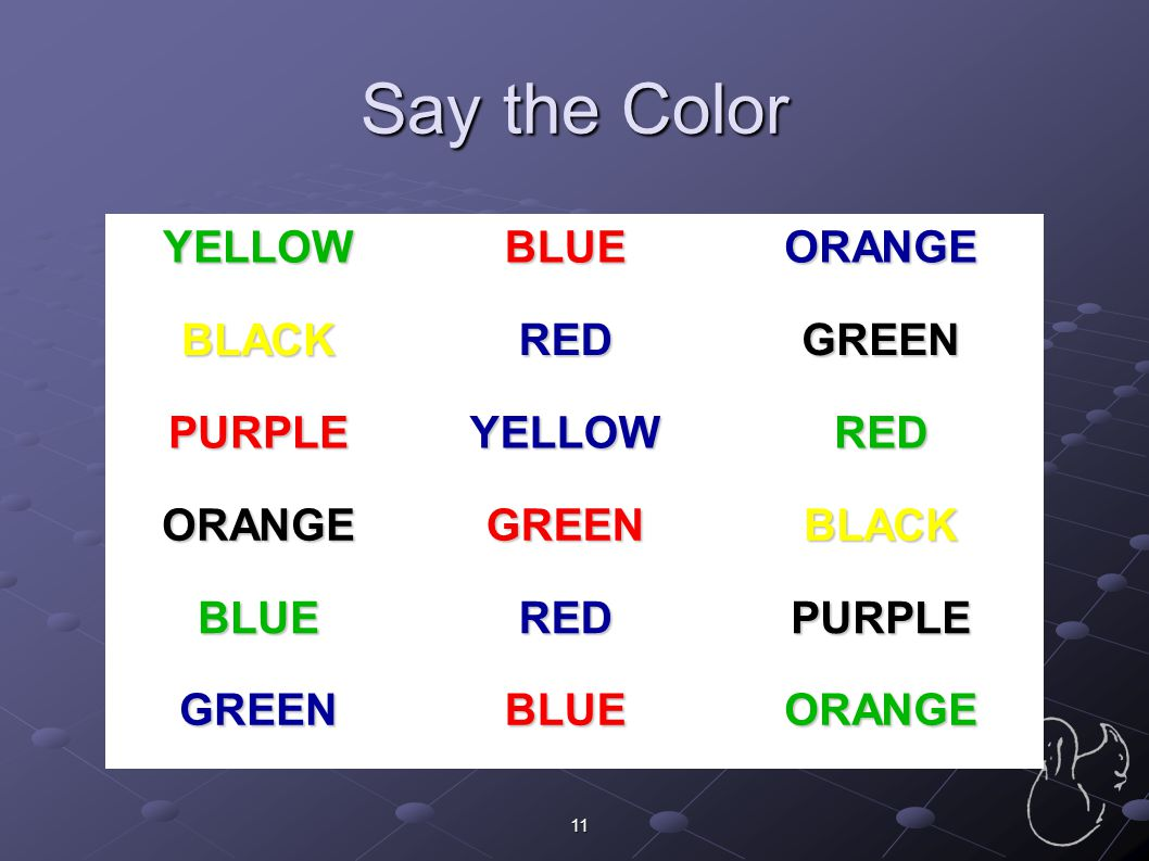 Say the Color YELLOW BLUE ORANGE BLACK RED GREEN PURPLE