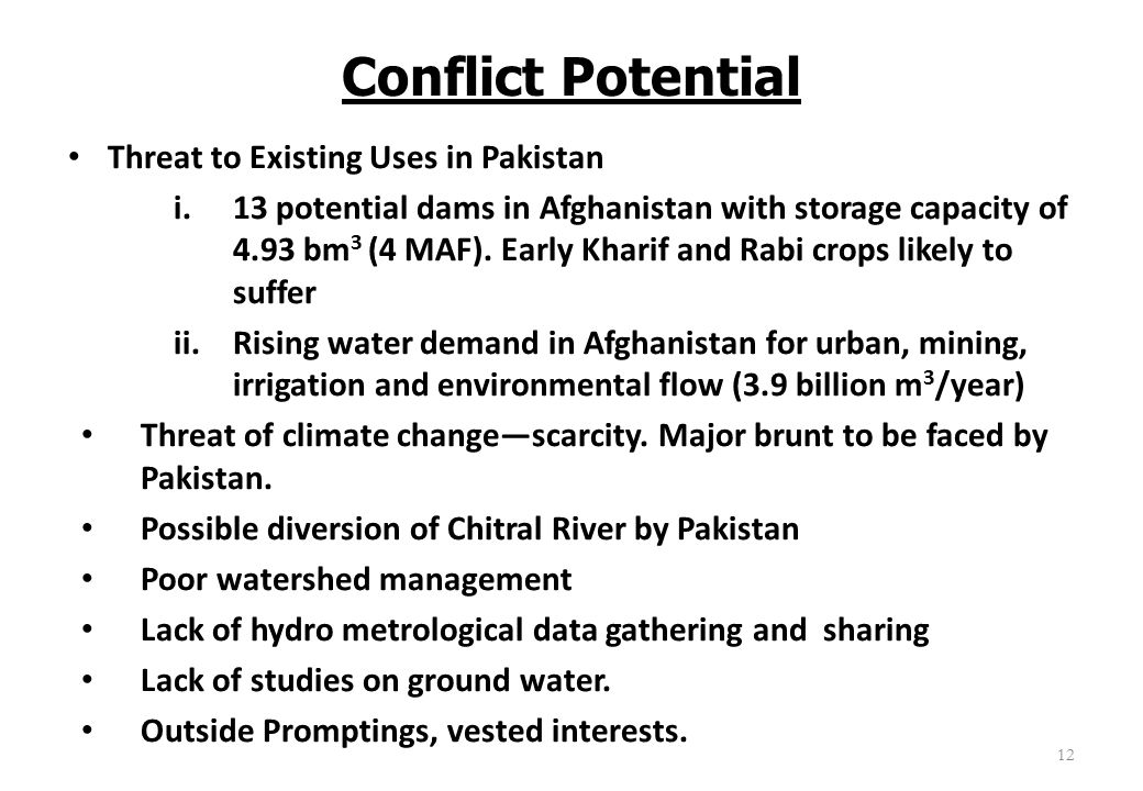 Conflict Potential Threat to Existing Uses in Pakistan