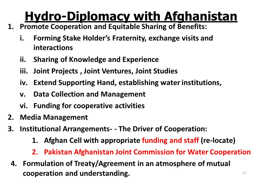 Hydro-Diplomacy with Afghanistan