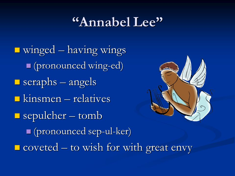 Annabel Lee winged – having wings seraphs – angels