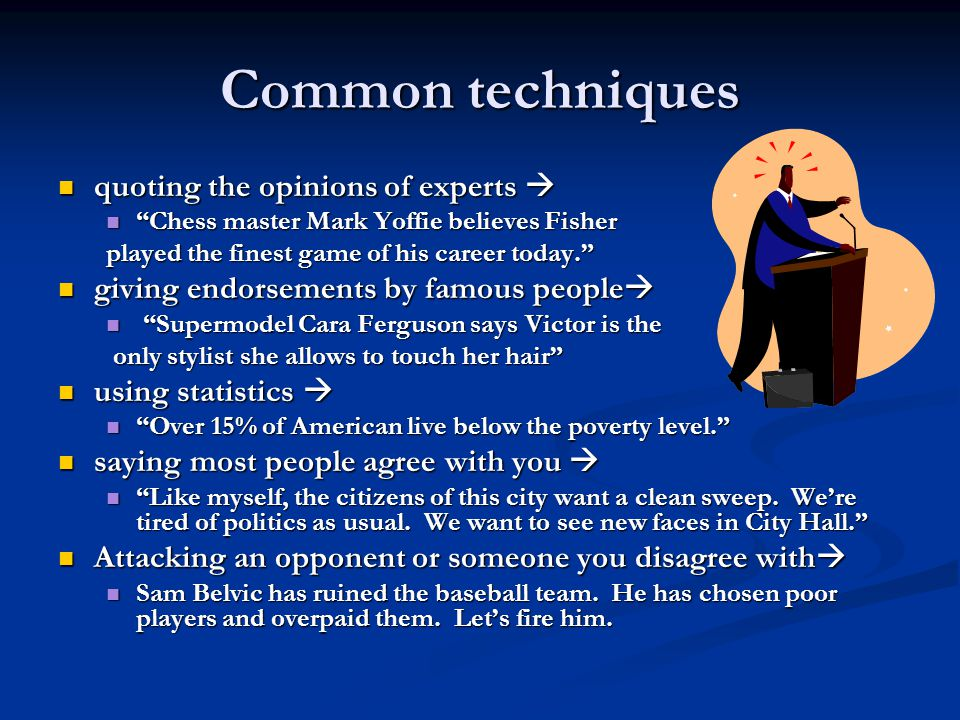 Common techniques quoting the opinions of experts 