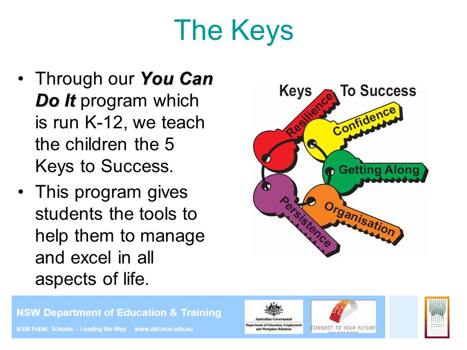 The Keys Through our You Can Do It program which is run K-12, we teach the children the 5 Keys to Success.