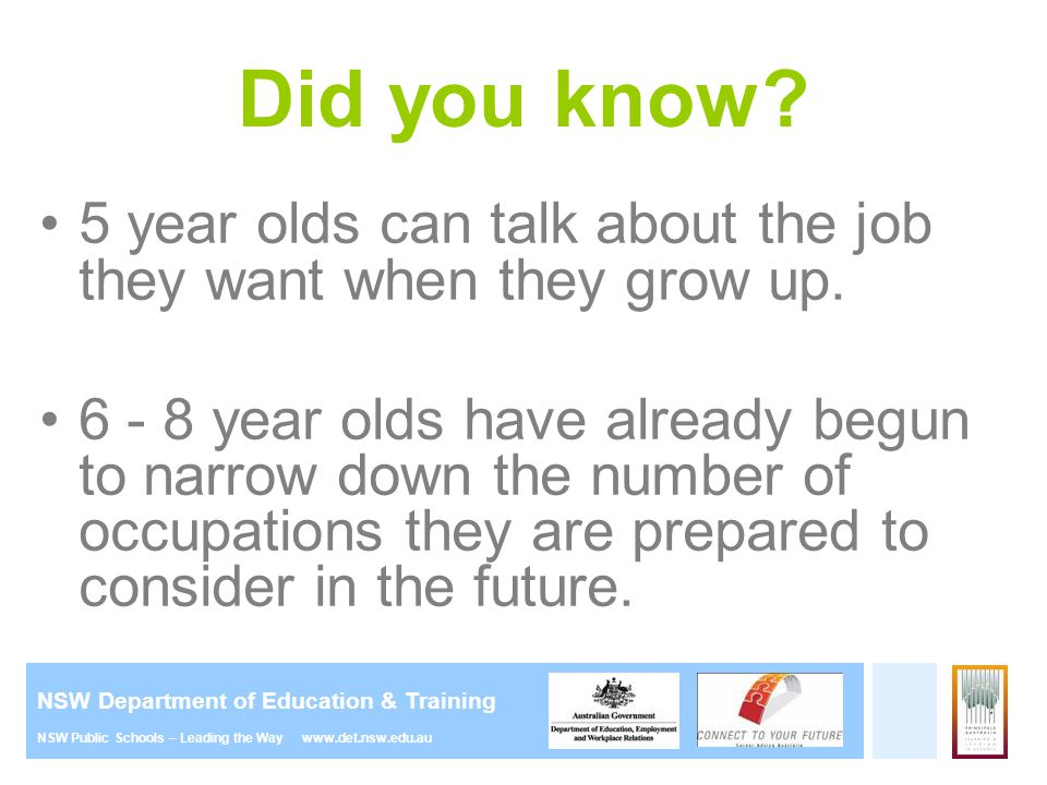 Did you know 5 year olds can talk about the job they want when they grow up.
