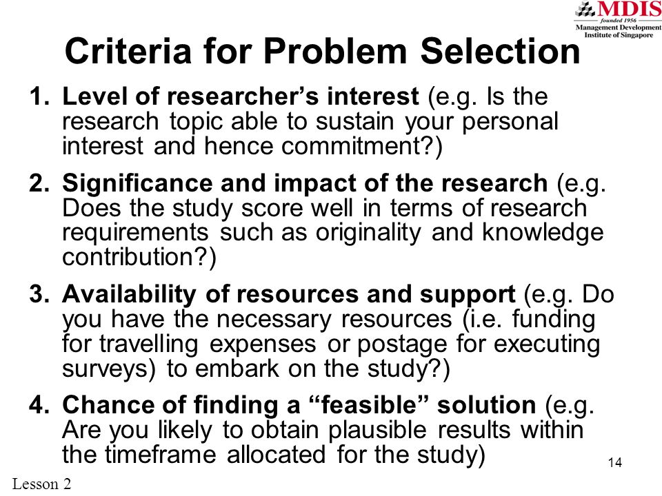 Criteria for Problem Selection